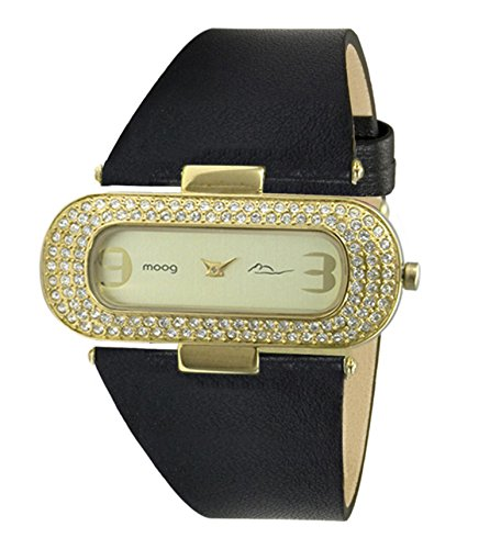 Moog Paris Glam Women's Watch with Gold Dial, Black Genuine Leather Strap & Swarovski Elements - M44088-010