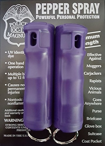 POLICE MAGNUM 2 Pepper Spray 1/2oz Purple Flip Top Molded Keychain Security Self Defense Police Strength
