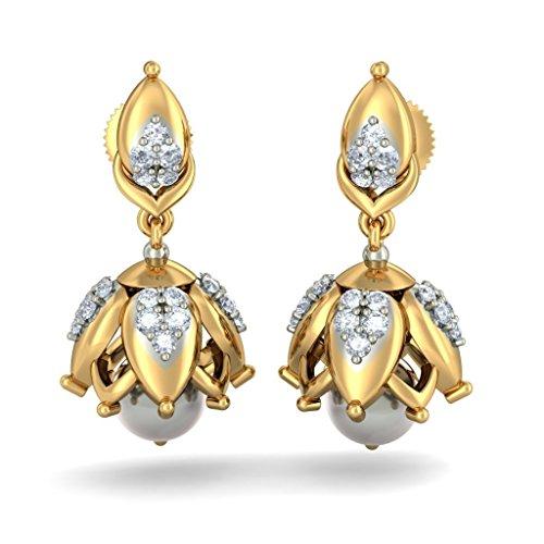 14K Or jaune 0,68ct tw White-diamond (IJ | SI) et blanc perle Pendants d'oreilles