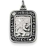 Sterling Silver Antiqued Square St. Christopher Medal Pendant - (0.98 in x 0.59 in)