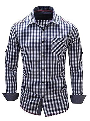 Mens Casual Long Sleeve Plaid Slim Fit Button Down Dress Shirt by Gemijack