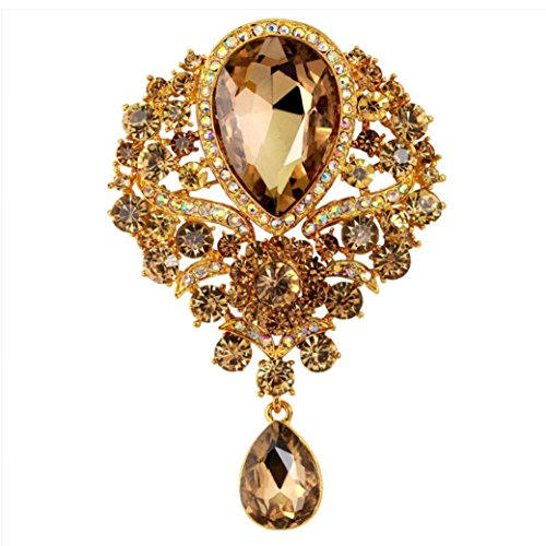 Botrong Large Fashion Drop Pendant Wedding Lady Rhinestone Brooch (Gold) -