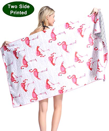 Flamingo Beach Towels - Flamingo Microfiber Pool Beach Towel - Funny Quick Fast Dry Sand Free Proof Oversized Extra large Big Outdoor Travel Rack Swim Micro Fiber Blanket Yoga Mat Personalized Women Men Adults Body Pink