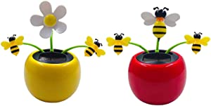 Amosfun 2pcs Solar Powered Dancing Toys Bobblehead Solar Dancing Flowers Bees Doll Dashboard Decoration Car Interior Decor Desktop Ornament