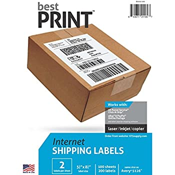 "Best Print 200 Half Sheet - Best Print Shipping Labels - 5-1/2"" X 8-1/2"""