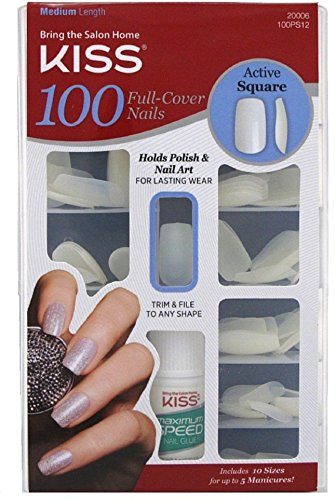 KISS Nails 100 Full Cover Medium Length Nails Kit, Active Square 1 ea (Pack of 4) by Kiss