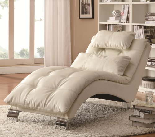 coaster home furnishings dilleston pillow top chaise - white faux leather