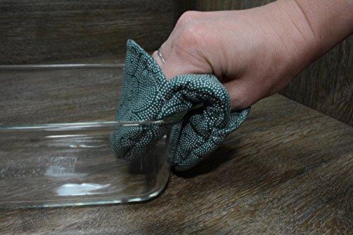 Fingertip Set (Mini Oven Mitts // Set of 2 // Fingertip Oven Mitts // Emerald Swirls)