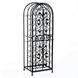 HomCom 45 Modern Wine Bottle Organizer Decorative Portable Wrought Iron Wine Rack Jail