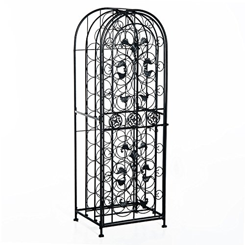 Cage Scrollwork (HomCom 45 Modern Wine Bottle Organizer Decorative Portable Wrought Iron Wine Rack Jail)