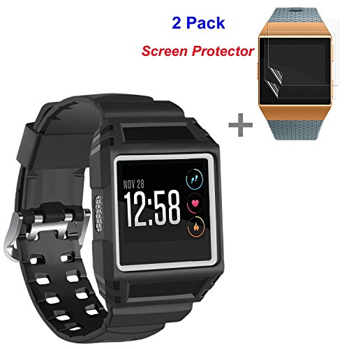 JINGCI Bands with Case for Fitbit Ionic, Shockproof Sport Wristband with 2 Pack Screen Protector for Fitbit Ionic