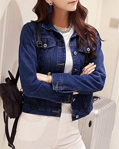 Jeans Autunno Elegante Vita Donna Slim Alta Giacche Moda Cute Tasche Dunkelblau Giubbino Cappotto Bavero Anteriori Corto Manica Accogliente Breasted Chic Single Fit Lunga 5OEqqXxrUn