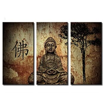 Amosi art 3 panels religion stone buddha canvas paintings chinese buddha giclee artwork wall art