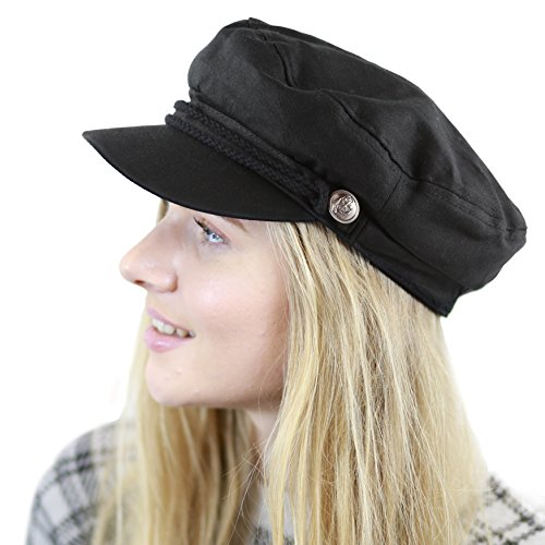 THE HAT DEPOT Black Horn Unisex Cotton Greek Fisherman's Cap (L/XL, Black) (Cap Fisherman Greek)