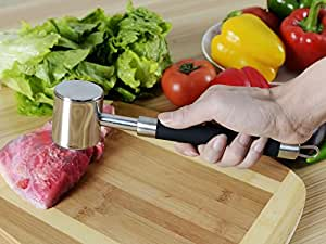 LC Prime Stainless Steel Meat Hammer Pounder with Non Slip Silicone Handle for Pounding stainless steel silicone black 1