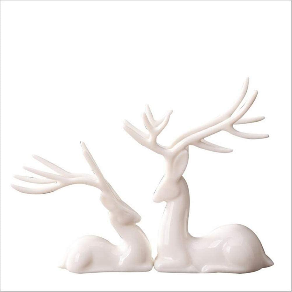 LIUSHI 2 pcs Sika Deer Statue Sculpture Deer Figurine Animal Decor for Home Gifts Souvenirs White Porcelain