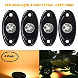 4 Pods LED Rock Light Kits, Ampper Waterproof Underglow LED Neon Trail Rig Lights for Car Truck ATV UTV Baja Raptor Offroad Boat Trail Rig Lamp Underbody Glow (Yellow)