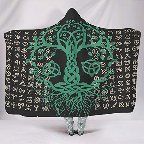 EUNNT Viking - Manta estampada suave y calida para sofa, silla, cama, oficina, viajes, acampada, poliester, Blanco, 60x80 inch