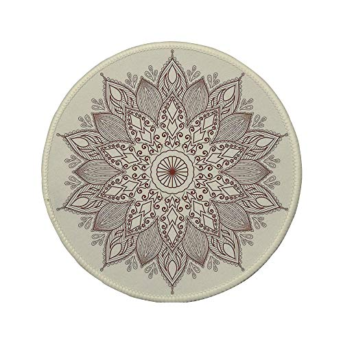 Non-Slip Rubber Round Mouse Pad,Beige,Mandala Flower Ethnic Lace Circle Ornate Retro Pattern Eastern Universe Artistic Decorative,Ivory Brown,7.87