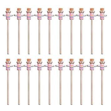 20 X Kinder Holzerner Bleistift Mit Figuren Spitze