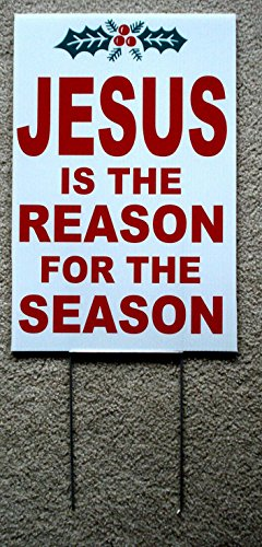 (1 Pc Radiant Unique Jesus The Reason for Season Yard Sign Christmas Decor Waterproof Indoor Decal Merry Holiday Home Decorations Room Prop Ornaments Vintage Door Village Party Size 12