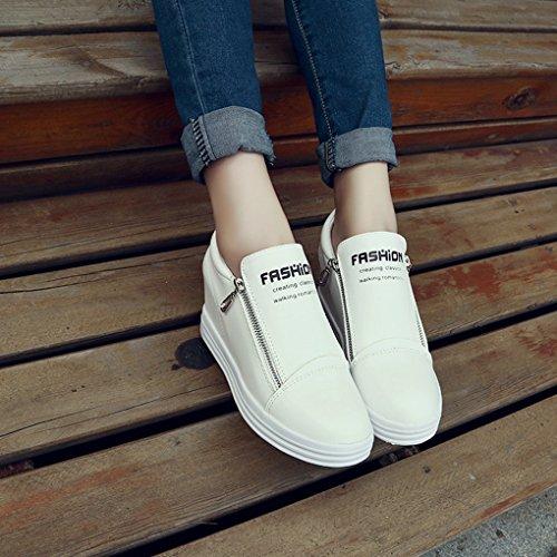 Cybling Casual Lage Platform Rits Verborgen Hiel Wedge Sneakers Voor Vrouwen Wit