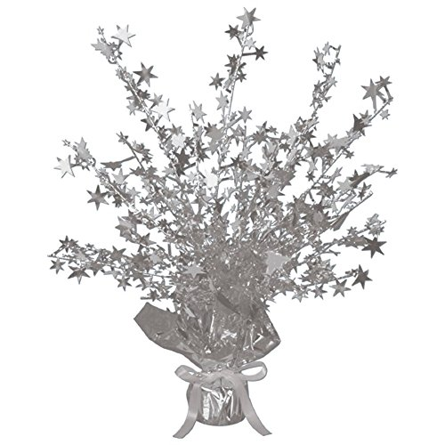Club Pack of 12 Silver Star Gleam 'N Burst Centerpiece Party Decorations 15''