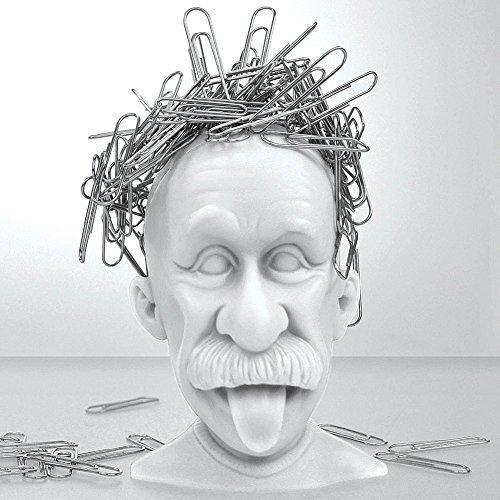 (Mustard Magnetic Paper Clip Holder, Albert Einstein, Desk)