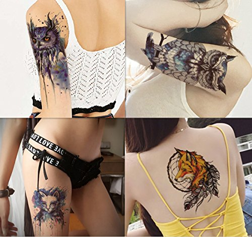 Dalin 4 Sheets Temporary Tattoos, Blue Owl, Cat, -
