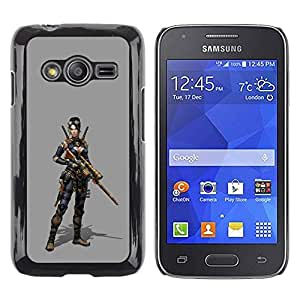 LECELL--Funda protectora / Cubierta / Piel For Samsung Galaxy Ace 4 G313 SM-G313F -- Woman Pc Game Character Fighter War --