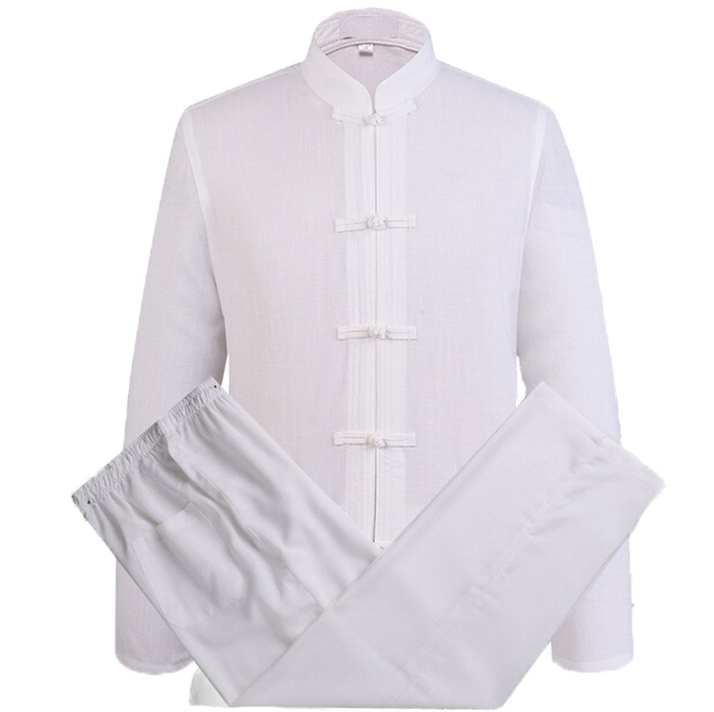 Zooboo Mens Chinese TraditionalコットンリネンMartialアートKung Fu Uniform B06X9DXSSB ホワイト X-Large
