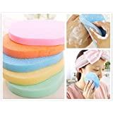 3PCS Natural Cellulose Compressed Essential BIG Oval Shape Soft Powder Puff Make Up Cosmetic Facial Cleansing Exfoliating Sponge Puff Makeup Buffer Remover Bathing Face Blemish Acne Body Scrub Wash Clean Skin Care Pad Tool Salon Spa Home Use in Retail Packaging (Cleansing Sponge) by ANGELANGELA