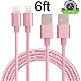 iPhone Charger, KMISS 2Pack 6FT/6FT Nylon Braided USB A to Lightning Cable Data Sync Cable Compatible with iPhone 7 Plus 6S Plus 6 Plus SE 5S 5C 5, iPad 2 3 4 Mini Air Pro, iPod (Rose Gold)
