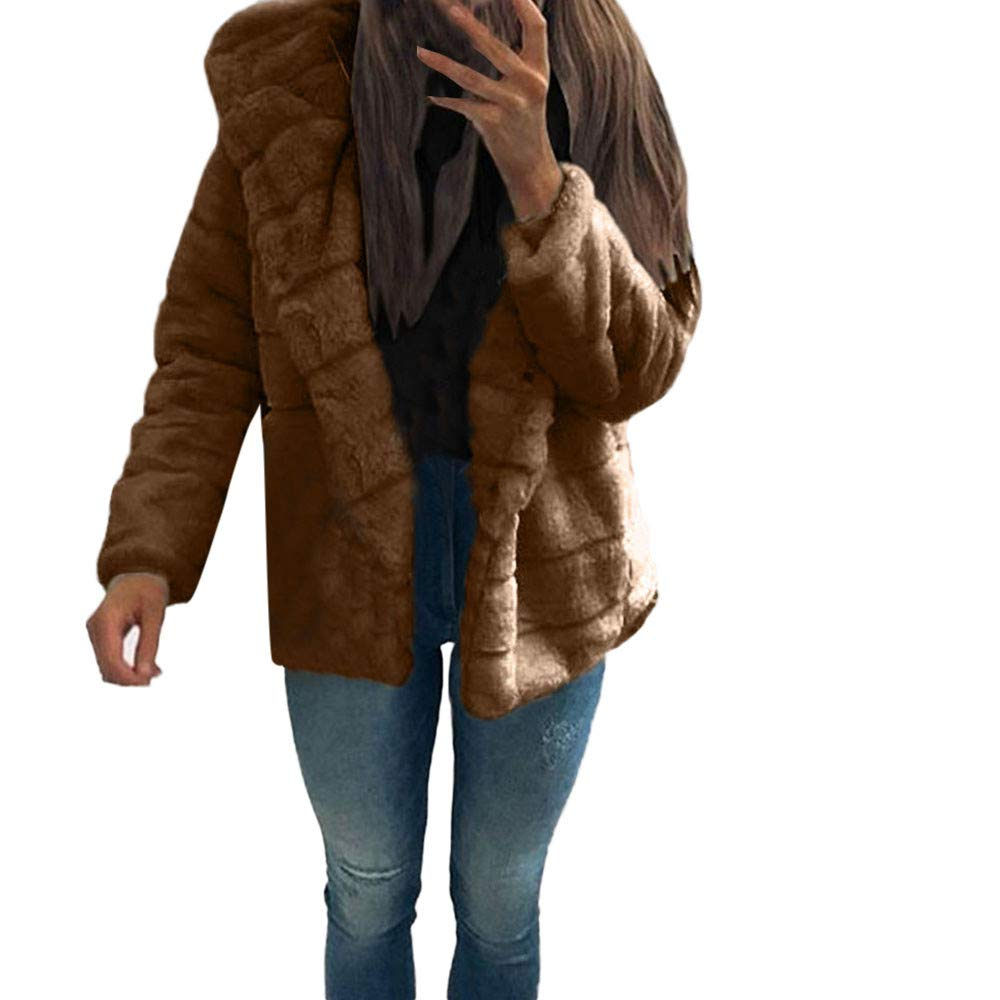 Brown Laimeng_World Women Mink Coats Ladies Winter Hooded Faux Fur Jacket Warm Thick Outerwear Jacket Winer Fuzzy Coats