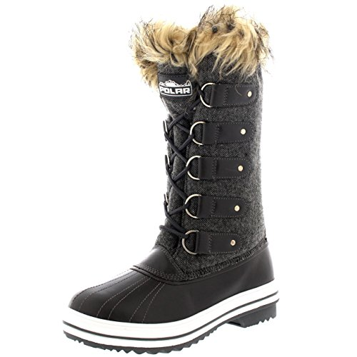 womens-fur-cuff-lace-up-rubber-sole-tall-winter-snow-rain-shoe-boots-9-grt40-yc0072