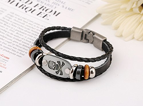 The November Nocturne Hand Knitting Skull Pattern Wrap Black metal Beads wrist Bracelet (Trifari Coral Bracelet)