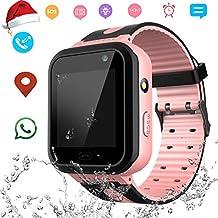 Waterproof Smart Watch Phone for Kids - IP67 Waterproof GPS Tracker with SOS Voice Chat Camera Flashlight Alarm Clock Digital Wrist Watch Smartwatch Girls Boys Birthday Christmas Thanksgiving Gifts