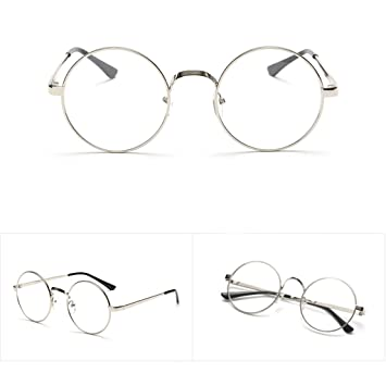 2bf6fb8c0cdf Image Unavailable. Image not available for. Color: Fang sky Men Women  Eyeglass Round Metal Frame Glasses Retro Spectacles Clear Lens Nerd ...