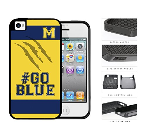 Hashtag Go Blue School Spirit Slogan Chant iPhone 4 4s 2-piece Dual Layer High Impact Black Silicone Cover (Tag Impact)