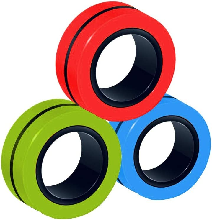 FeiliandaJJ 3Pcs Magnetischer Ring Magic Armbandring Entpacken Spielzeug Mehrfarbig Finger Therapie Squeeze Training Anti-Stress FinGears Magnetic Rings Magnetringe