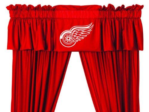 Detroit Red Wings Valance - NHL Detroit Redwings Hockey Logo Locker Room Window Valance