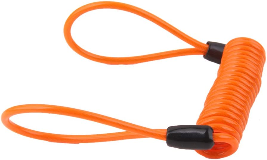 H HILABEE 2pcs Safety Lanyard Spring Coil Wire Rope Disc Brake Lock Reminder Cable