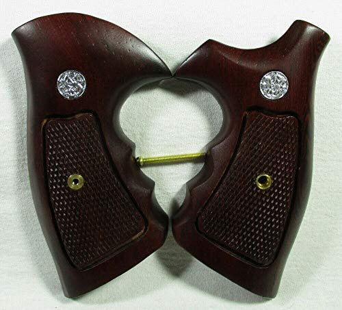 Smooth Industries Wood Checkered Grips for S &W Revolvers, K, L Frame, Square/Round Butt, New