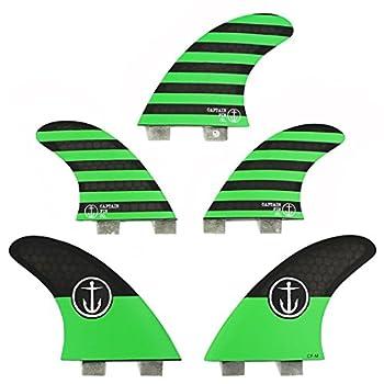 Image of Captain Fin Co. CF-5 Fin Medium Surfboard Fins - 5 Fin Set - Twin Tab - Green