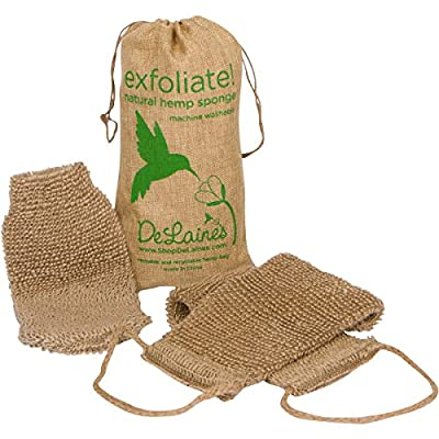 Exfoliating Back and Body Scrubber, Natural Hemp, Durable, Machine Wash and Dry, Extra-Long Mitt Included