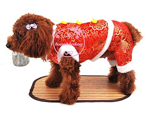 (SMALLLEE_LUCKY_STORE Small Dog Flower Print Chinese Tang Costume Four Legged Jumpsuit, Red,)