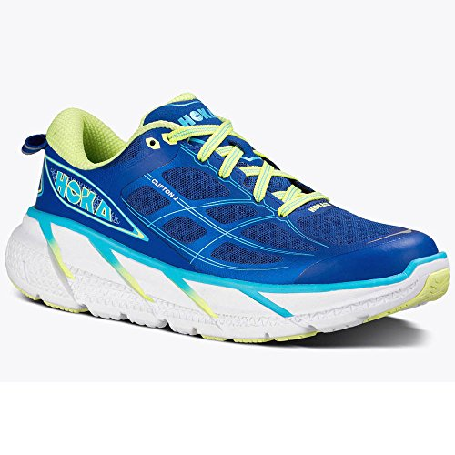 Hoka One One Womens W Clifton 2 True Blue/Sunny Lime Running Shoe 10 Women  US