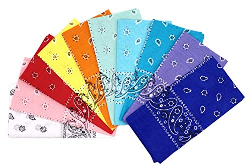 Small Bandana - T&Z 100% Cotton 10 Pack Fine Bandanas (Summer Assorted), Medium
