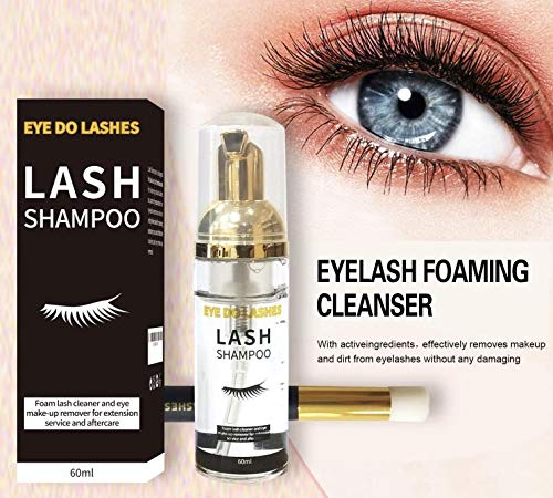 Eyelash Extension Shampoo+Brush 2 in 1-60ml /Foaming Cleanser for Extensions and Natural Lashes/Paraben & Sulfate Free Safe Makeup & Mascara Remover/Professional & Self Use