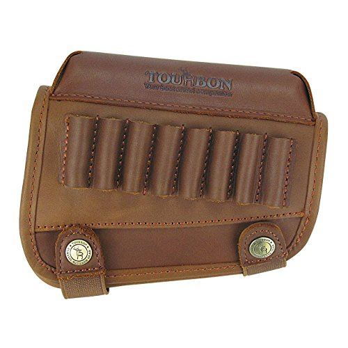 - Tourbon Genuine Leather Buttstock Cheek Rest with Rifle Shell Holder - Right Handed